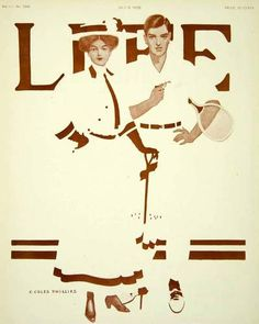 1908 Cover LIFE Magazine Coles Phillips Fadeaway Girl Tennis Player Vintage Art $74.95