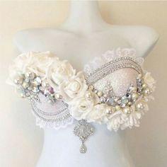 Snow princess by Pixie Glitz Shop    #coachella #raveoutfit #edcoutfit #mermaid #mermaidbra #ravewear #wwbfwear #themewear #costume #dancewear #danceoutfit #snow #roses