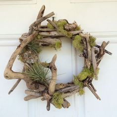 Driftwood air plants and fern wreath. SO much nicer than the typical, hideous floral wreaths you see EVERYWHERE. Driftwood Furniture, Driftwood Projects, Driftwood Wreath, Driftwood Art, Beach Crafts, Diy And Crafts, Air Fern, Air Plant Display, Creation Deco