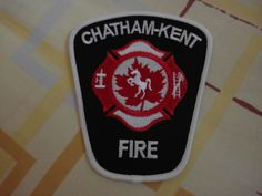 Patch fire  CHATHAM-KENT fire department Ontario Canada  Rarity 100% ORIGINAL