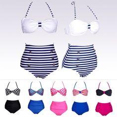 Cheap swimwear brand, Buy Quality swimwear directly from China swimwear lycra Suppliers:  Vintage High Waist Bikini set Dot Retro Swimsuits Suits Swimwear Large/big Beachwear high waisted Pinup Women's Bikinis