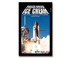 Astronaut Ice Cream - Originally Developed for the early Apollo Missions, this space treat is frozen to -40 C (-40 F) and then vacuum dried and placed in a special foil pouch. Freeze-dried foods are used by astronauts eating under weightlessness conditions in space. $4.25