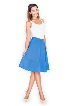 Rozkloszowana niebieska spódnica midi z podwyższonym stanem