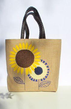 Sunflowers handmade unique linen burlap tote handbag by Apopsis