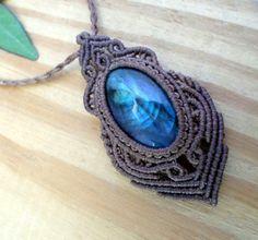 Labradorite macrame pendant macrame jewelry boho by SelinofosArt