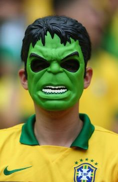 A Brazil fan wears a Hulk mask before Brazil and Mexico at Castelao on June 17, 2014. #cdm2014 #worldcup2014 #football #WorldCup2014Brazil #soccer #fans #photography