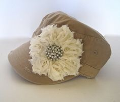 Khaki Military Distressed Cadet Army Hat with Ivory Shabby Chiffon Flower and a Gorgeous Pearl and Rhinestone Brooch Accent, $35.00