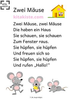 """""""Zwei Mäuse"""" KRIPPE Movement song for the little ones - only 2 chords - started what you want to do - the last street can nicely lead to an afternoon nap Frisuren Family Activities, Preschool Activities, Movement Songs, Kindergarten Portfolio, Diy Nativity, Finger Plays, Kids And Parenting, Little Ones, Literacy"""