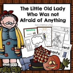 This pack contains activities to go along with The Little Old Lady Who Was Not Afraid of Anything. This story is one of my students' favorites and is perfect for Halloween!Includes the following:2 Sequencing Anchor Charts10 Picture Cards and Arrows to use to sequence the storyPrint and Go Sequencing pageRetelling Anchor ChartRetelling Pocket Chart Headers  use with picture cards to retell storyRetelling Print and Go PageRetelling Rope  Cut and Paste ActivityPocket Chart Cards  words and…