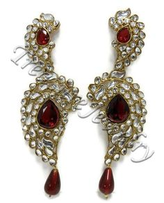 Necklace - Earring Set  jewelry in Red, White - Material: Multi Color Stones, Faux Stones -  - $10 -- Features: Exclusive Studded earrings #Earrings #Jewelry #Jewellery #Fashion #Necklace #Necklaces