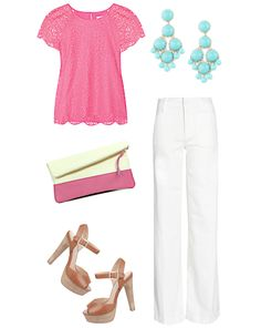 pink lace + turquoise earings + white pants