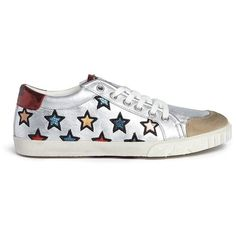 Ash 'Majestic' star appliqué metallic leather sneakers ($205) ❤ liked on Polyvore featuring shoes, sneakers, vintage sneakers, multi colored sneakers, star shoes, metallic sneakers and colorful shoes