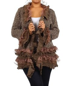 Look what I found on #zulily! Brown Ruffle Cardigan - Plus by 1X 2X 3X & More #zulilyfinds