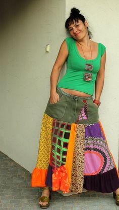 Pop art crazy recycled patchwork skirt by jamfashion on Etsy, $86.00