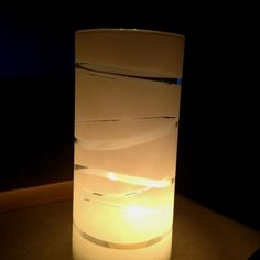 Homemade candle holder. Dollar store glass, rubber bands and spray paint primer. They were super easy and look amazing.