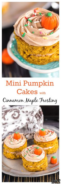 Pumpkin Cakes frosted with the most amazing Cinnamon Maple Frosting ...