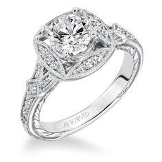 Vintage Collection, Wilhelmina #31-V635FRW, vintage inspired octagonal halo diamond engagement ring with hand engraved and milgrain detail, #ArtCarvedBridal