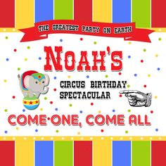 Circus Theme Birthday Gift Tags available at www.partyexpressinvitations.com Circus Birthday Invitations, Birthday Tags, Birthday Gifts, Mickey Mouse Balloons, Unicorn Balloon, Rose Gold Balloons, Jar Labels, Circus Theme, First They Came