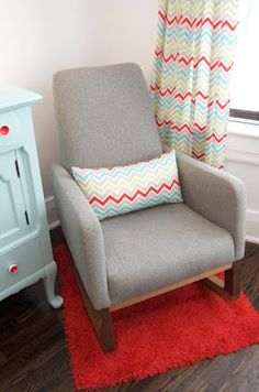 What a fresh and playful combo of grey, aqua-turquoise and red @okaynowwhat_ did a great job!  http://maggieandrob.blogspot.ca