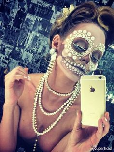 Just a selfie. Pearls. Halloween make up. Sugar skull