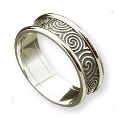 Beautiful Unique wedding rings and mitment rings Celtic Newgrange Spirals with Trim