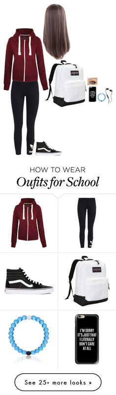 """""""Katherine typical day at school"""" by aaslandg on Polyvore featuring adidas Originals, Vans, JanSport, Casetify and Skullcandy"""