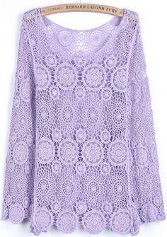 Purple Long Sleeve Hollow Floral Crochet Lace Blouse