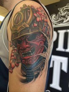 Samurai Helmet Tattoo by Gigi McQueen Japanese Tattoos For Men, Japanese Flower Tattoo, Japanese Tattoo Designs, Japanese Sleeve Tattoos, Hannya Mask Tattoo, Helmet Tattoo, Demon Tattoo, Samurai Maske Tattoo, Hannya Maske