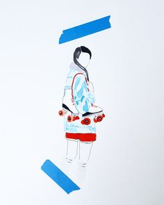 Roller Girl by @orb_artworks  ( Blanche Cabanel) watercolor' ink, tape. Eshop soon