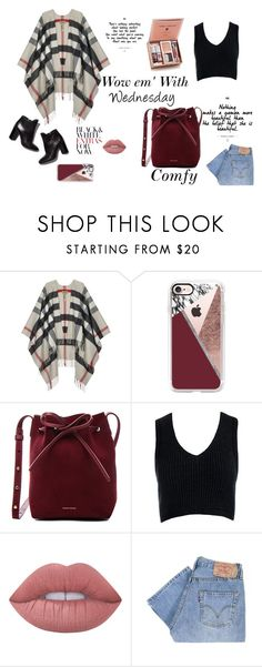 """""""Wednesday"""" by lost-in-wonderland9008 ❤ liked on Polyvore featuring Burberry, Casetify, Mansur Gavriel, Sans Souci, Pierre Hardy, Lime Crime and Levi's"""
