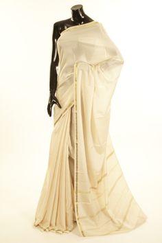 Mysore Crepe- crepe light beige saree with blouse