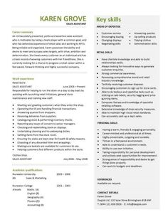 retail cv template sales environment sales assistant cv shop work store manager - Resume For Interview Sample