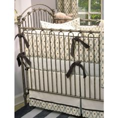 Venetian Crib in pewter comes as shown, with the posters and a canopy.