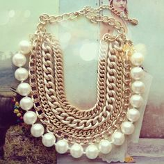 Minerva Gold Chains & Pearls Statement Necklace