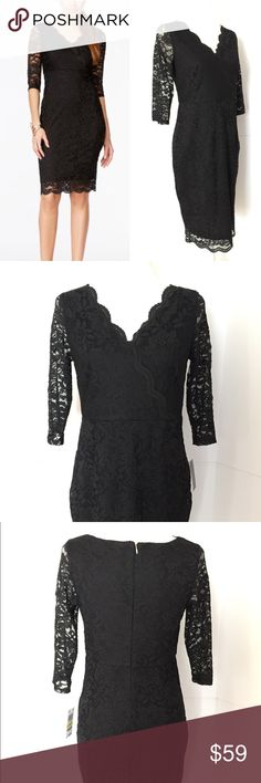 """CCO 48 HOUR SALE!  Thalia Sodi LBD Dress Thalia Sodi Black Lace Sheath Dress Figure Flattering. Women's size S New With Tag ******** Black lace dress with scalloped v- neck. Elbow length unlined lace sleeves. Back zipper and clasp closure. Knee length.  Fully lined.  All-over Lace. ***** Polyester and Spandex. Hand wash inside-out, line dry. Sizing- please refer to photo of Thalia Dress Chart. Length for size Small - 37"""" ***** Non-smoking home. Fast Shipping. Thalia Sodi Dresses"""