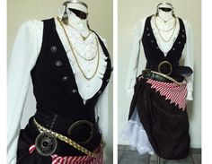 Womens Victorian Pirate Costume - Complete Halloween Costume Including Belts & Jewelry, Pirate Wench