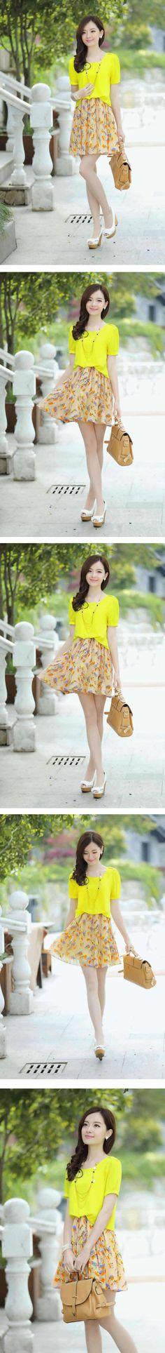 Korean Fashion Fake Two Pieces Printing Chiffon Dress