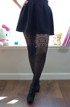 Winter Wonderland Tights. Cute black knit tights with snowflake and heart pattern. | Idol Collective