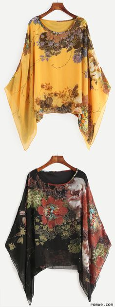 Discover thousands of images about Floral Print Batwing Chiffon Blouse Hijab Fashion, Boho Fashion, Fashion Dresses, Womens Fashion, Fasion, Sewing Clothes Women, Diy Clothes, Sewing Blouses, Floral Blouse