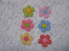 12 Padded Gingham Flower Applique by NanaLetha on Etsy, $1.85