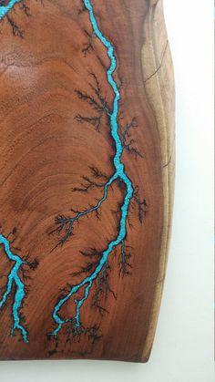 Inlaid Lichtenberg Figures Electrically Engraved into Live Edge Mesquite Home Decor