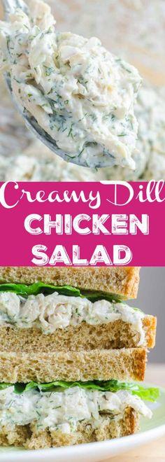 Creamy Dill Chicken Salad Recipe A creamy dill chicken salad sandwich made with fresh dill, mayo, yogurt, garlic, chicken and red onion. The perfect summer sandwich. Dill Recipes, Chicken Salad Recipes, Best Chicken Salad Recipe, Chicken Salad Sandwiches, Chicken Mayo Sandwich, Turkey Salad Sandwich, Chicken Salads, Garlic Recipes, Lunch Recipes