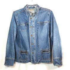 3b4d30b762 i.e. Relaxed Size XL Denim Blue Jean Jacket Full Zip Open Snap Buttons  ie   DenimJacket  Casual