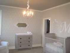 Gray Nursery with Stenciled Accent Wall - so chic!