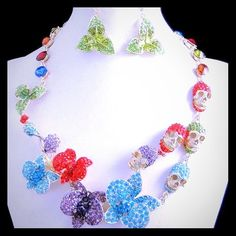 Multi Colors Flowers Leaves Skulls Set  Brand New Without Tag  1 Set: One Necklace and One Pair of Earrings Jewelry