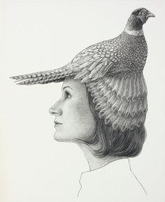 Teresa con faisán, 2008. Lápiz sobre papel, 29 x 21 cm