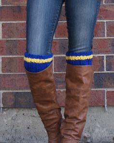 Spirit Wear Baseball Mom Blue and Yellow Boot Cuffs by SparklyTwig