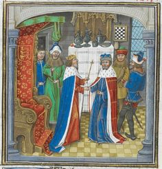 The King of Armenia having an audience with Richard II at Westminster (book 5, chapter 7). – Jehan de Wavrin, Anciennes et nouvelles chroniques d'Angleterre (c 1470-c 1480) – British Library