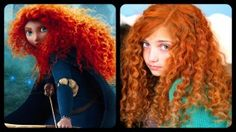 Merida's Hair | No-Heat Straw Curls | Disney Hairstyles   Learn how to recreate these beautiful curls for every day use, or with red temporary color for fun!  Video tutorial.  #Merida #NoHeatCurls #Brave