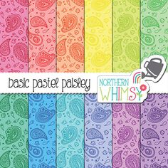 Paisley Digital Paper - seamless hand drawn paisley patterns in pastel pink, blue, turquoise, yellow, peach, mint & lavender- commercial use